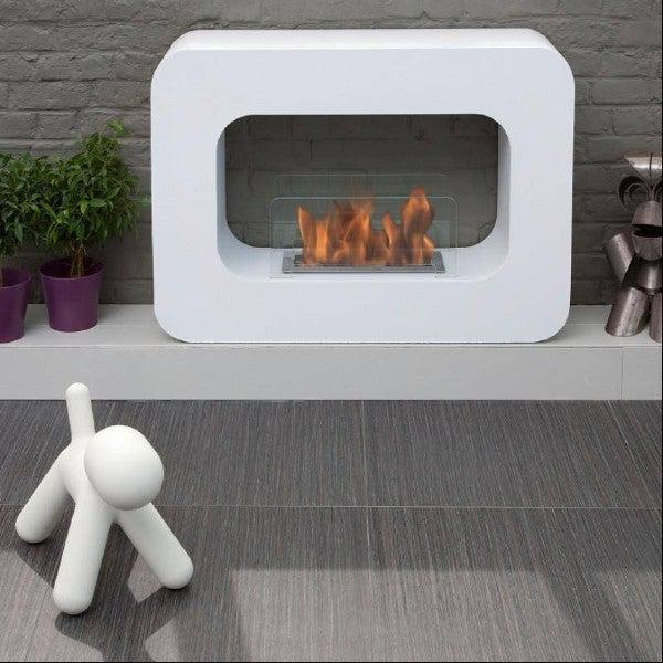 "Bio-Blaze Orlando BB-OW 39"" White Ventless Freestanding Ethanol Fireplace-Modern Ethanol Fireplaces"