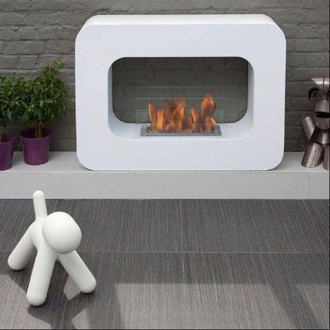 "Image of Bio-Blaze Orlando BB-OW 39"" White Ventless Freestanding Ethanol Fireplace-Modern Ethanol Fireplaces"