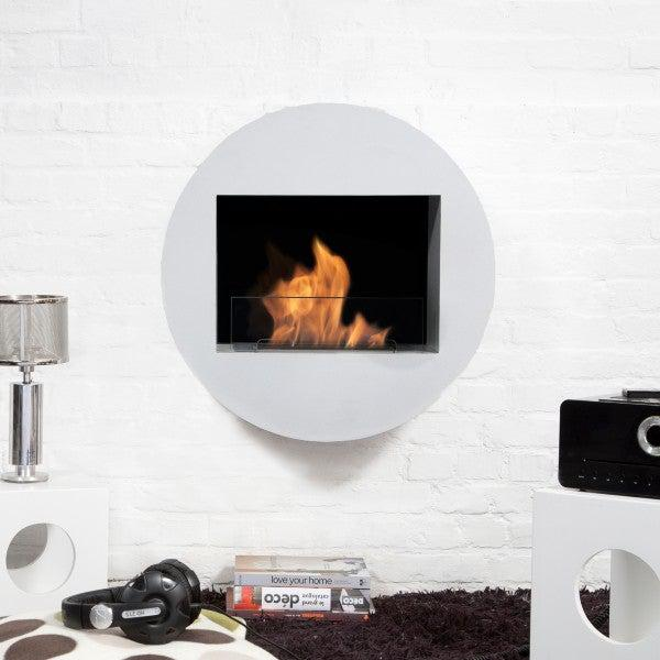 "Bio-Blaze Qwara BB-QWA-W 23"" White Wall Mounted Ethanol Fireplace-Modern Ethanol Fireplaces"