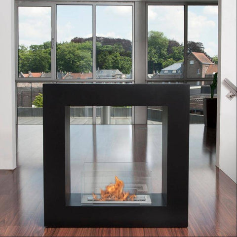 Bio-Blaze Qube Small Free Standing Ventless Fireplace-Modern Ethanol Fireplaces