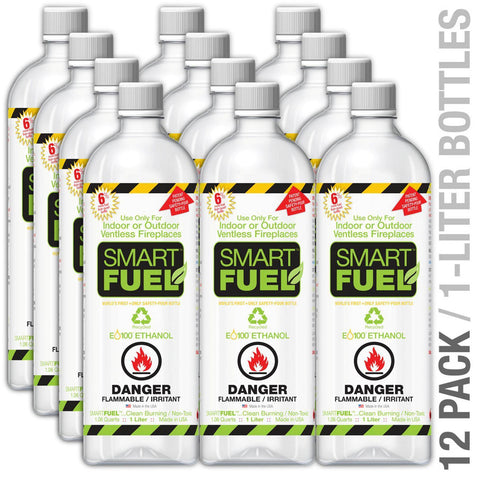 SmartFuel™ Liquid Bio-Ethanol Fuel for Fireplaces 12 pk-Modern Ethanol Fireplaces