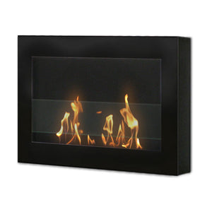 "Anywhere Fireplace Soho 90200 27"" Black Wall Mounted Ethanol Fireplace-Modern Ethanol Fireplaces"