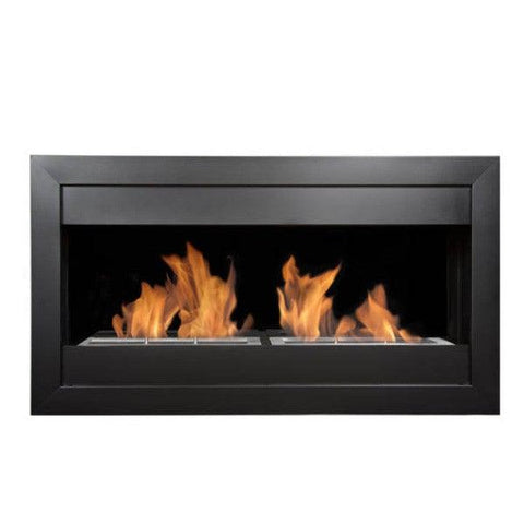 "Image of Bio-Blaze Square Large II BB-SQL2B 43"" Black Wall Mounted Ethanol Fireplace-Modern Ethanol Fireplaces"
