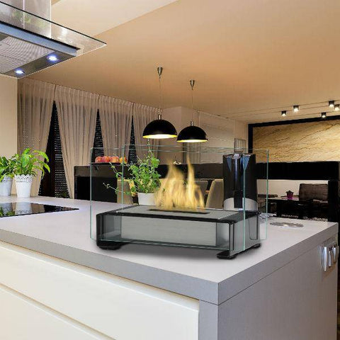"Image of Eco-Feu Toulouse 15"" Gloss Black Tabletop Ethanol Fireplace with Fuel TT-00140-Modern Ethanol Fireplaces"