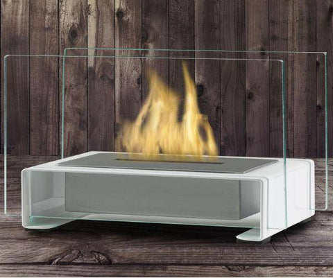 "Image of Eco-Feu Toulouse 15"" Gloss White Tabletop Ethanol Fireplace with Fuel TT-00141-Modern Ethanol Fireplaces"