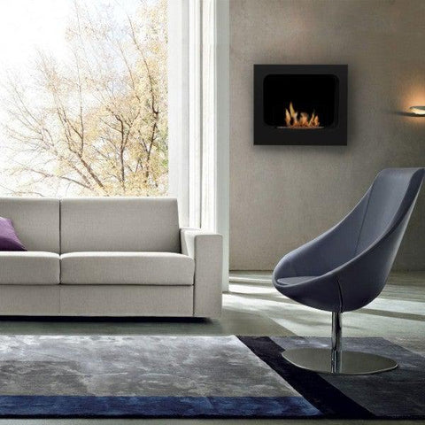 "Bio-Blaze Columbus BB-CO-B 23"" Black Wall Mounted Ethanol Fireplace-Modern Ethanol Fireplaces"