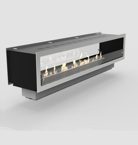 "Image of Decoflame Orlando 39"" Black Automatic Two-Sided Ethanol Fireplace Insert-Modern Ethanol Fireplaces"