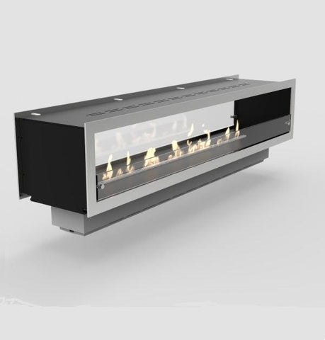 "Image of Decoflame Orlando 47"" Black Automatic Two-Sided Ethanol Fireplace Insert-Modern Ethanol Fireplaces"