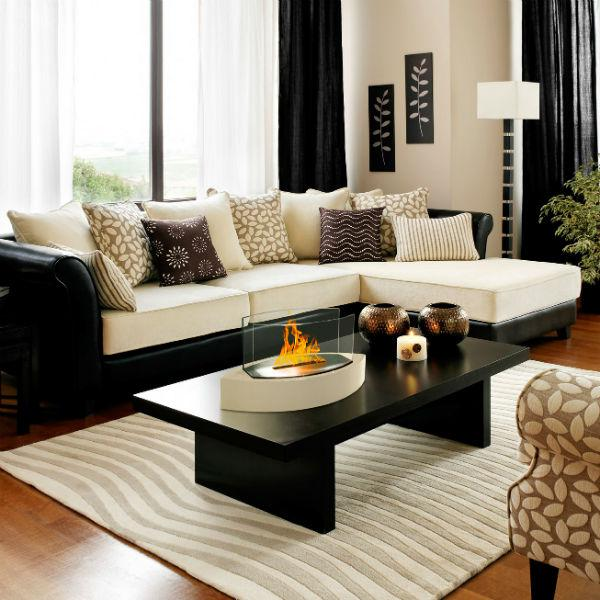 "Anywhere Fireplace Lexington 90203 20"" Beige Tabletop Ethanol Fireplace-Modern Ethanol Fireplaces"
