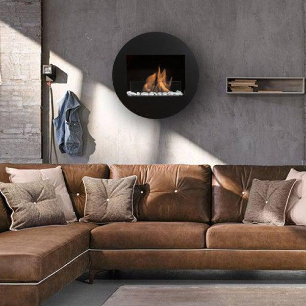 "Bio-Blaze Qwara BB-QWA-B 23"" Black Wall Mounted Ethanol Fireplace-Modern Ethanol Fireplaces"
