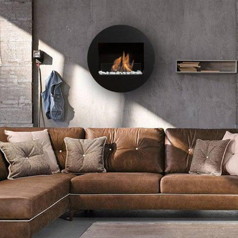 "Image of Bio-Blaze Qwara BB-QWA-B 23"" Black Wall Mounted Ethanol Fireplace-Modern Ethanol Fireplaces"