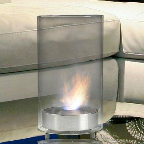 "Image of Eco-Feu Romeo 9"" Stainless Steel Tabletop Ethanol Fireplace with Fuel TT-00102-Modern Ethanol Fireplaces"