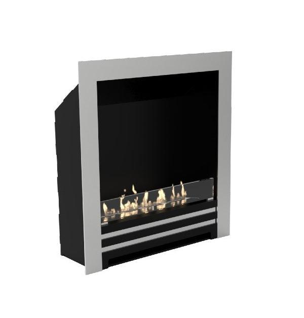 "Decoflame Westminster DS 33"" Black Automatic Ethanol Fireplace Insert w/ Brushed Frame-Modern Ethanol Fireplaces"