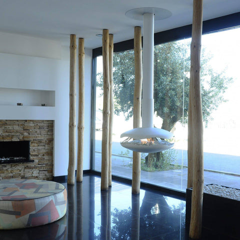 Image of GlammFire Perola Ceiling Hanging Ethanol Fireplace -87 inch-Modern Ethanol Fireplaces