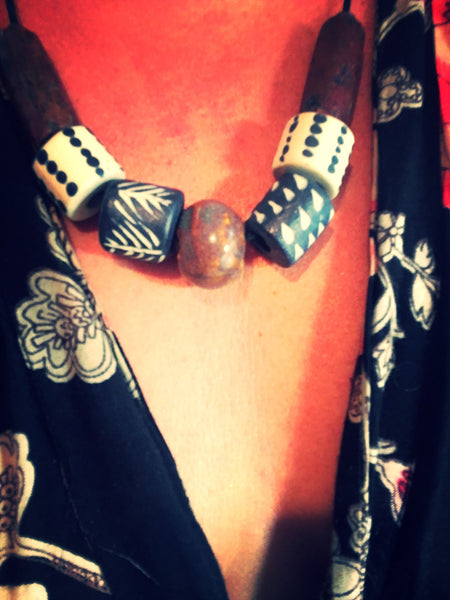 African Brick bead and handcrafted ceramic necklace