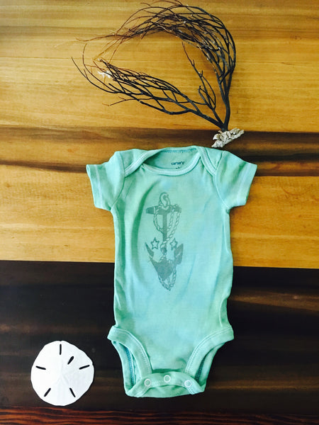 New Born Green Anchor onesie