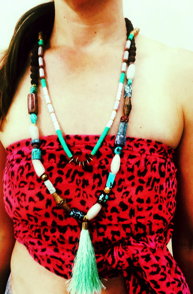 Turquoise, Lava Stone and Seafoam Tassel Necklace