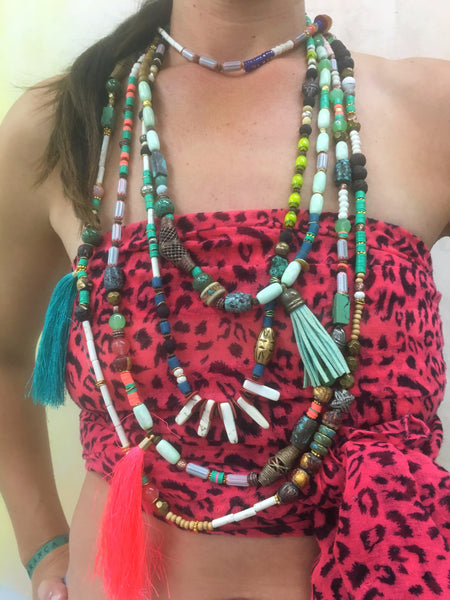 Neon Pink tassel Necklace