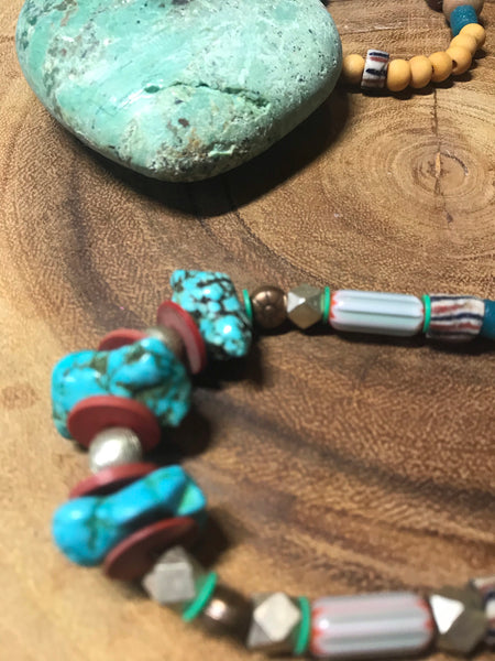 Turquoise multi colored beaded necklace