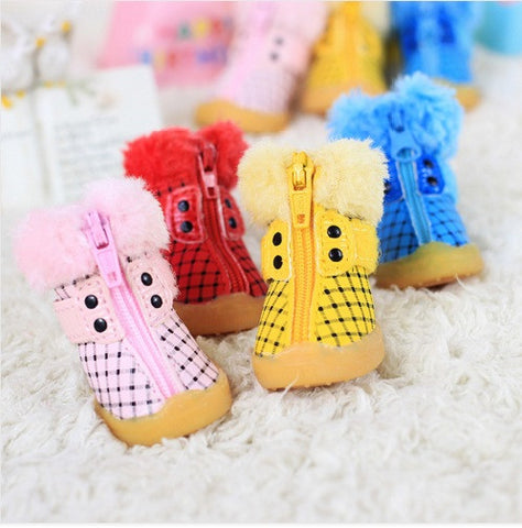 Fashion Style Winter Boots (Pink,Yellow,Blue,Red) - Dog Shoes And Dog Booties