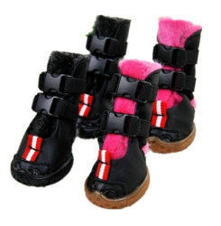 Double buckle anti-slip dog boots (black & pink) - Dog Shoes And Dog Booties - 1