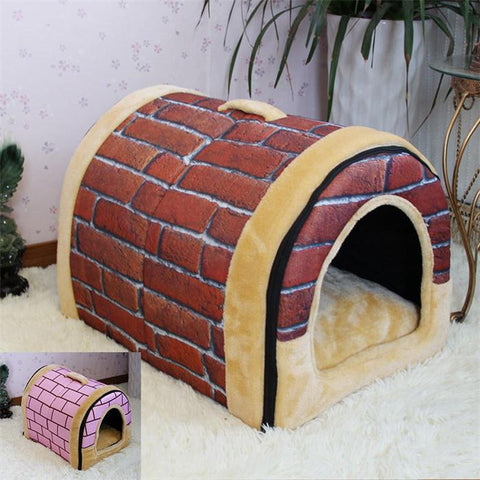 Adorable Brick Fleece Comfort Dog House & Pet Bed - Dog Shoes And Dog Booties - 1