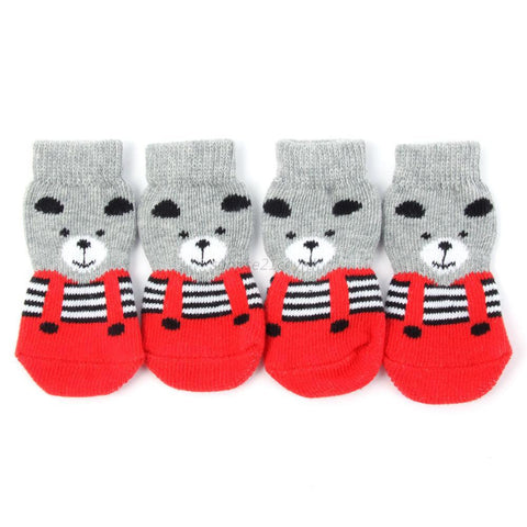 4pcs Pet Small Dog Warm Soft Anti-slip Socks - Dog Shoes And Dog Booties - 1
