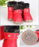 Leather warm dog boots (red,black,blue,gray) - Dog Shoes And Dog Booties - 5