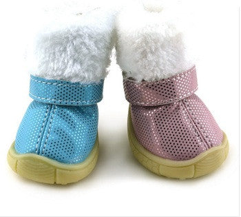 Warm furry dog snow boots (Pink,Blue) - Dog Shoes And Dog Booties - 1