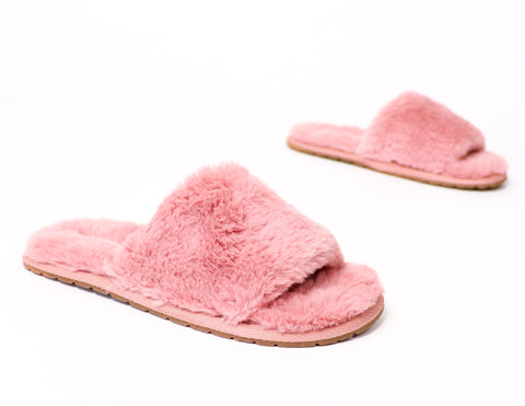 mauve cozy fur you slides