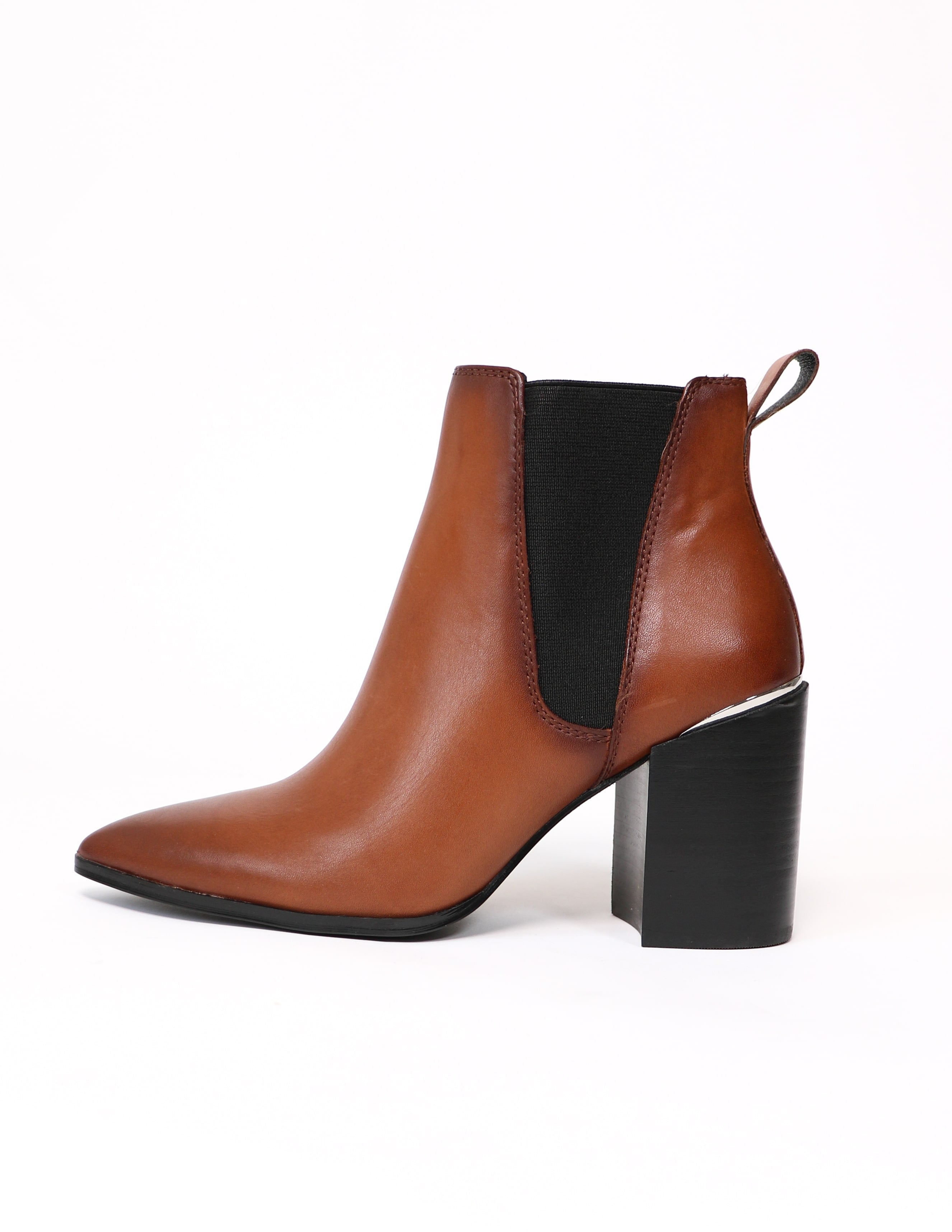 cognac steve madden perfectly trimmed bootie