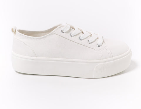 White canvas lace take it slow platform sneaker