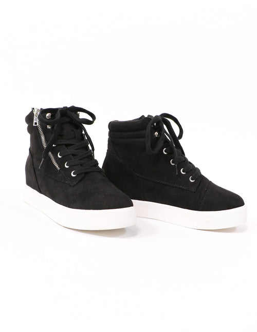 Black level up lace up sneakers on white background - elle bleu shoes