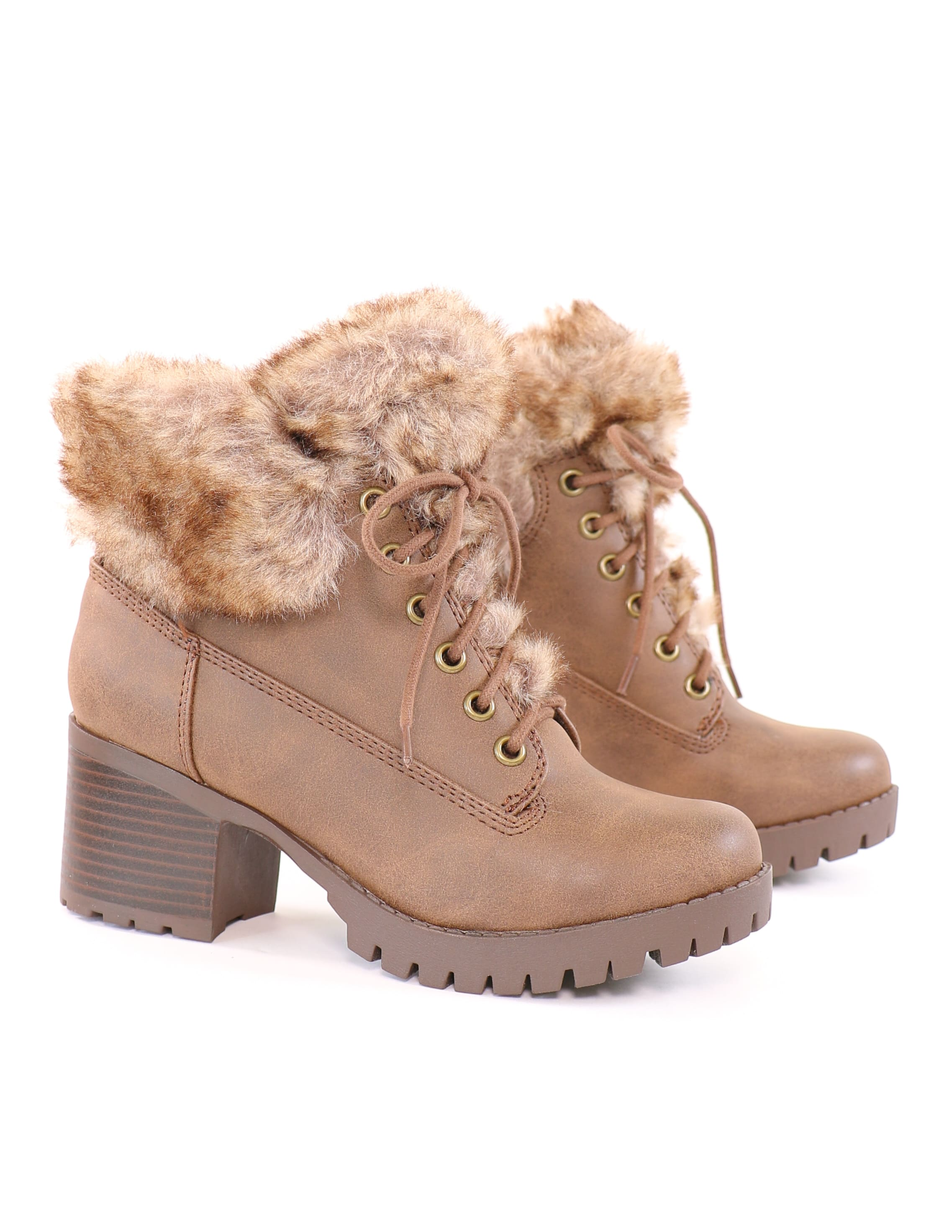 Faux fur cocoa cozy lace up lug booties in brown - elle bleu shoes