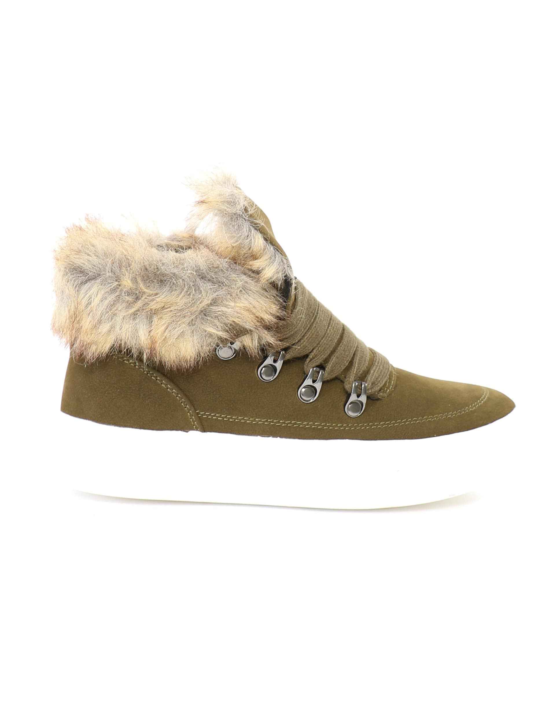 Details on the olive green faux fur trim sneakers on white background - elle bleu shoes