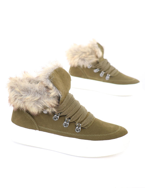 Olive faux fur sneakers with white platform sole - elle bleu shoes