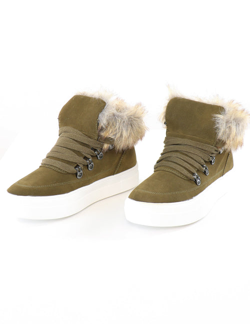 Olive suede sneakers with faux fur trim on white background - elle bleu shoes
