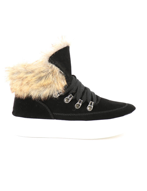 Black fury fur sneakers with white platform sole on white background