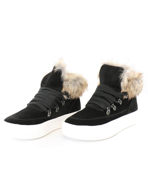 Black faux suede faux fur booties on white background - elle bleu shoes