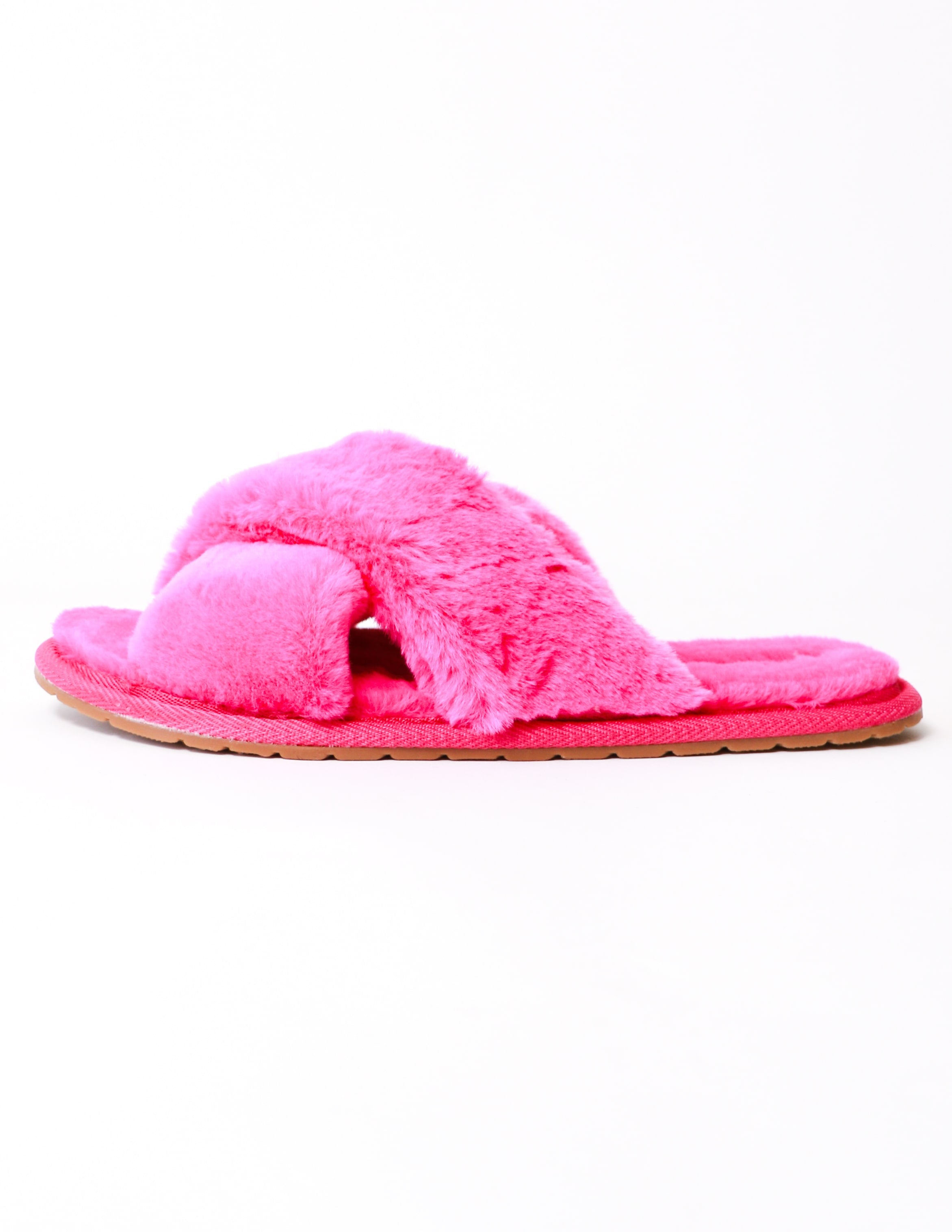 Pink fuschia fluffy slide slipper with rubber sole