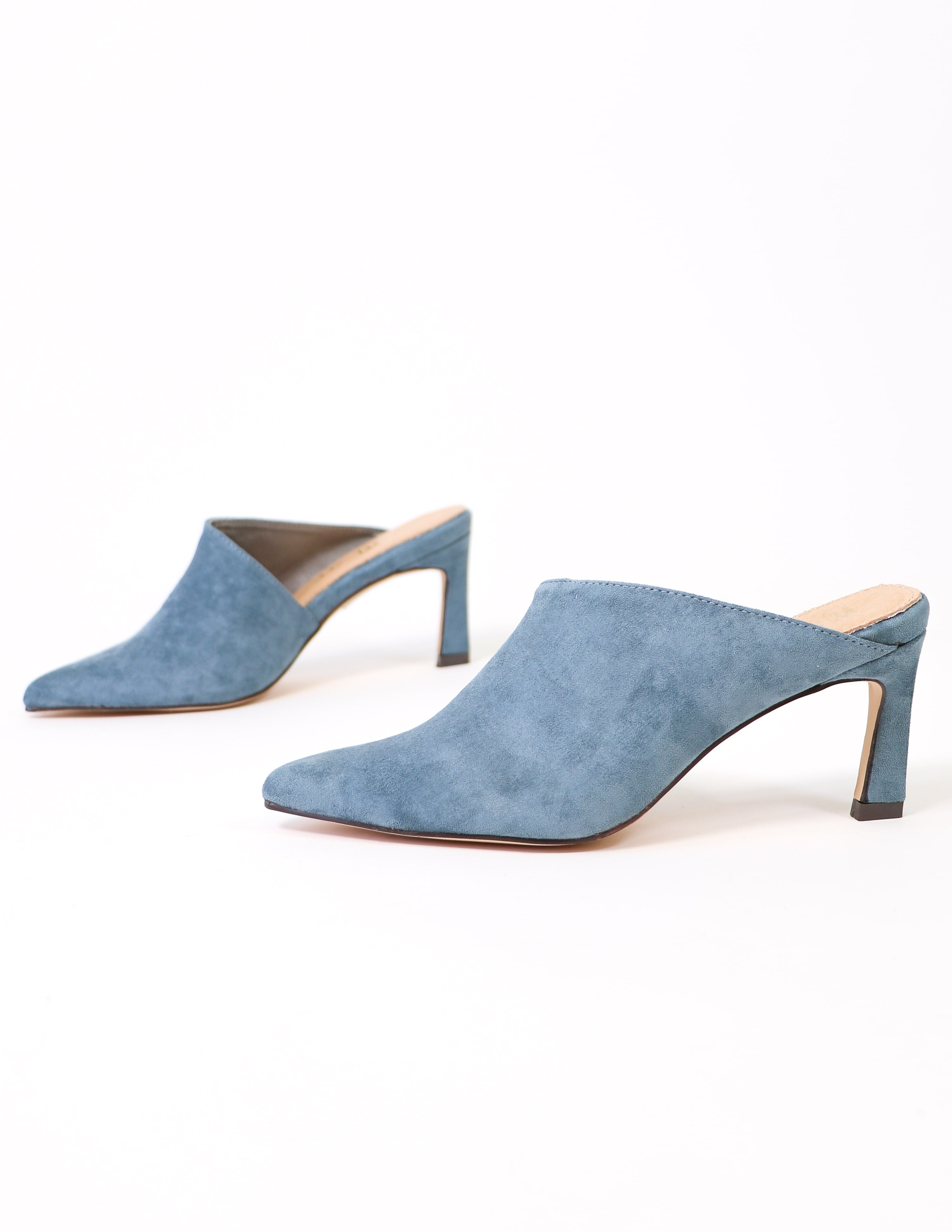 Side view of the blue suede kitten heel - elle bleu shoes