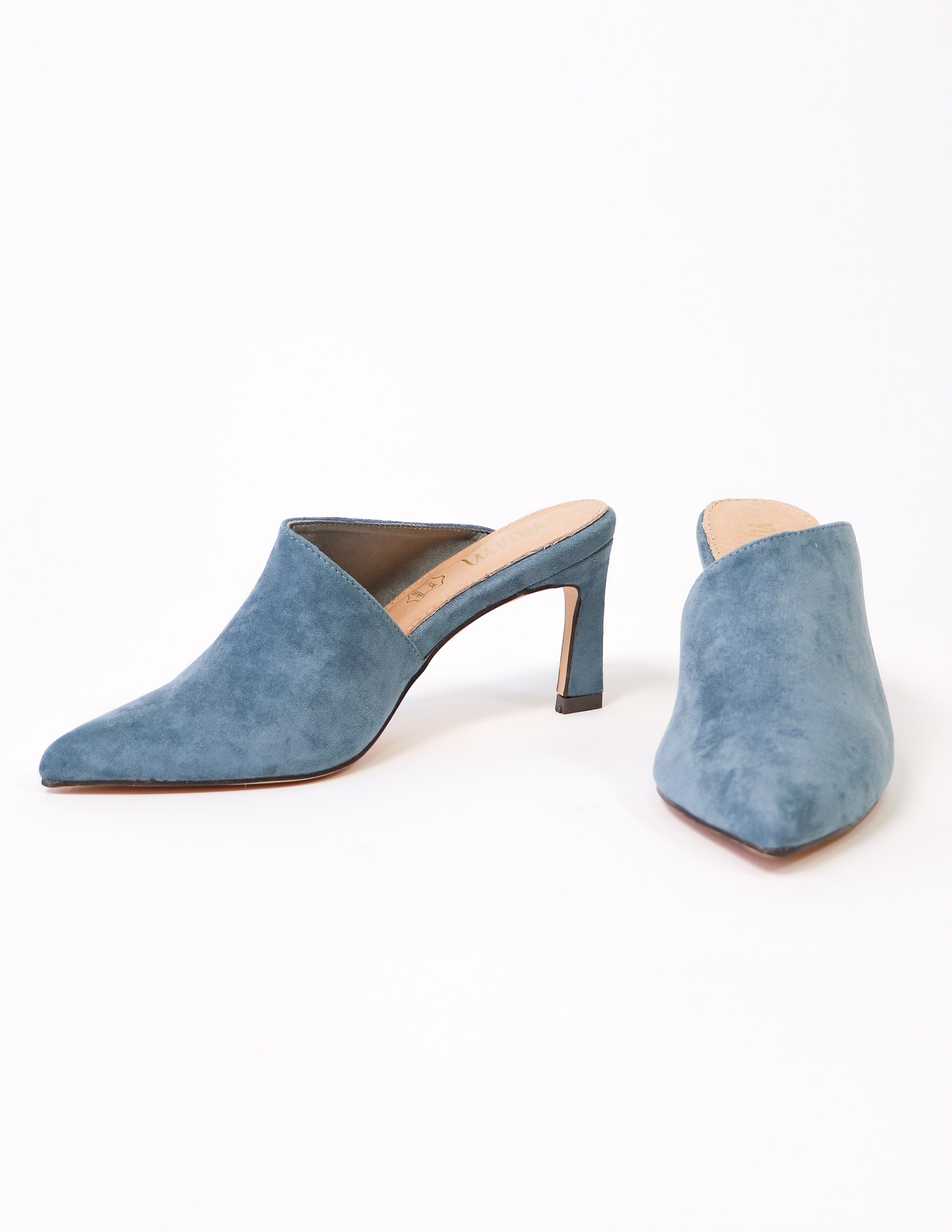 Side and front view of the blue suede kitten heel - elle bleu shoes