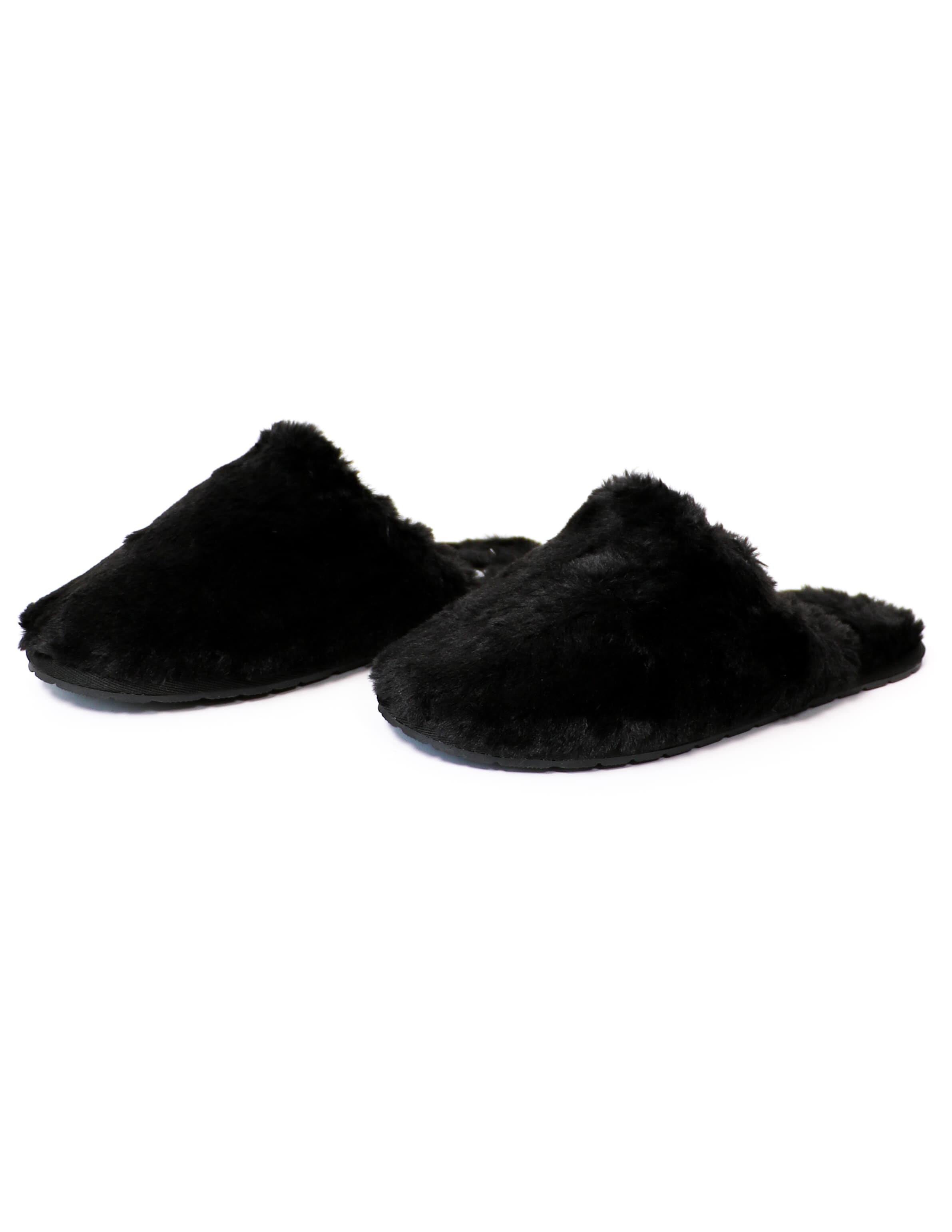Closed toe faux fur fuzzy wuzzy slippers on white background