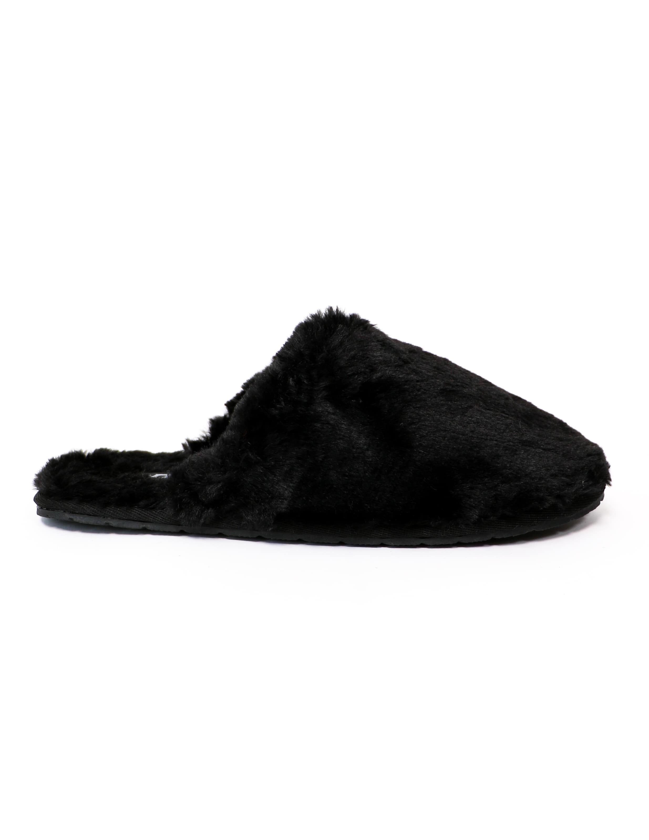 Black fuzzy wuzzy slippers on white background - elle bleu shoes