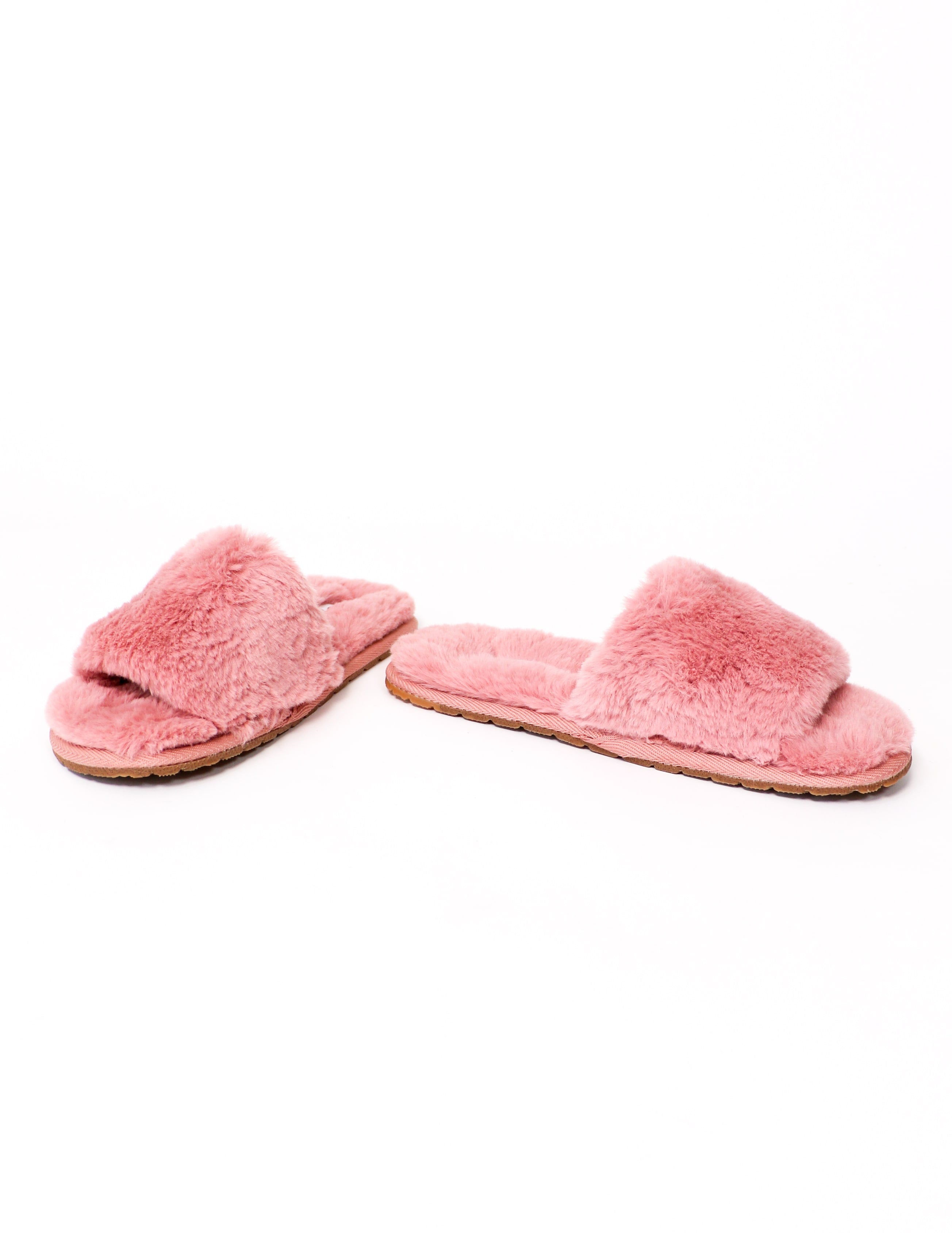 Cozy for you fur slide slippers in mauve - elle bleu shoes