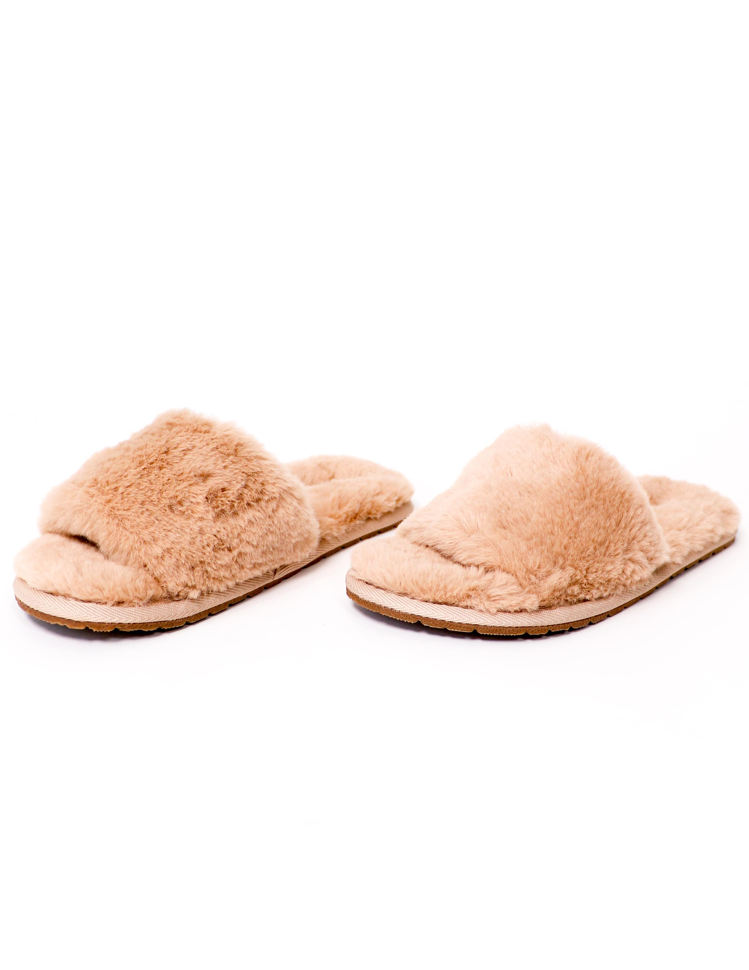Natural cozy for you faux fur slide slippers - elle bleu shoes