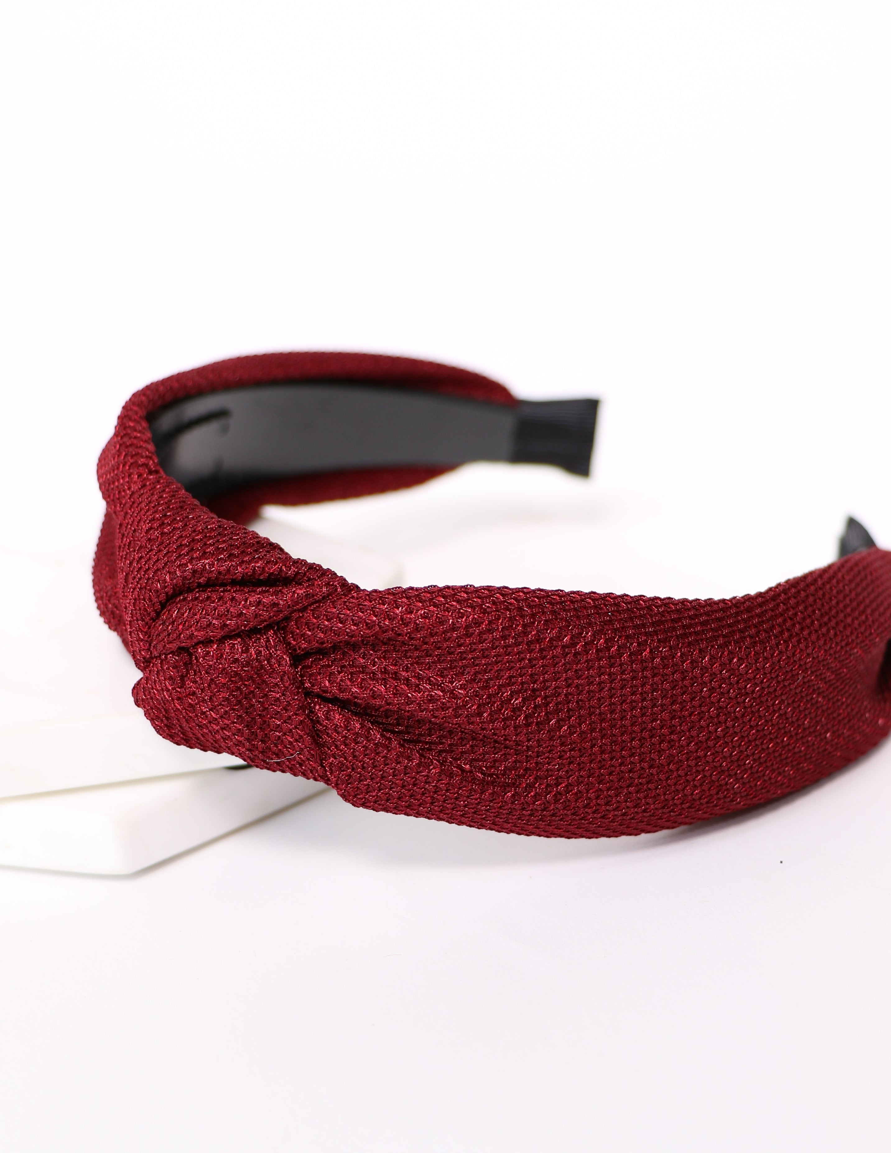 You know you love me burgundy woven headband - elle bleu