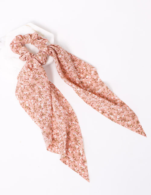 Tie it up scrunchie in pink floral on white background - elle bleu shoes