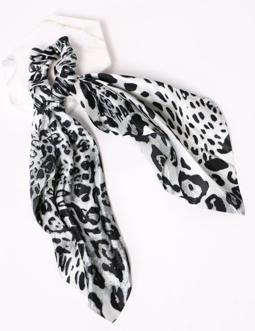 Grey cheetah ribbon tie it up scrunchie on white background - elle bleu