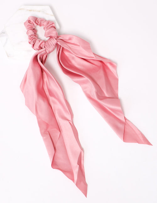 Rose pink ribbon tie it up scrunchie on white background - elle bleu shoes